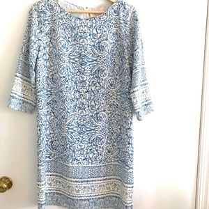 Skies are Blue and White 3/4 Length Sleeve Dress